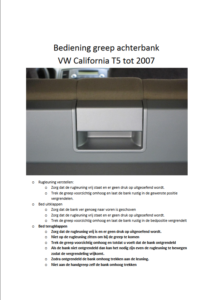 Brochure Bediening achterbankgreep T5 California tot modeljaar 2006
