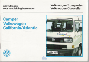 Brochure Instructieboekje VW Westfalia California T3 1989 (NL)