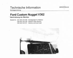 Brochure Montagesteunen Luifel Ford Nugget Custom hefdak (2014>)