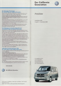 Brochure Prijslijst T4 California Generation 2000 (D)
